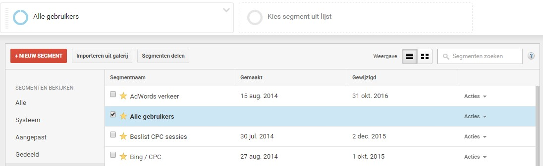 segementen google analytics